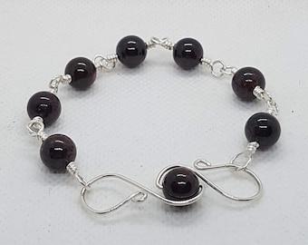 Garnet Bracelet | Silver Link Bracelet | Red Jewellery | Gemstone Arm Candy | January Birthstone Gift Idea