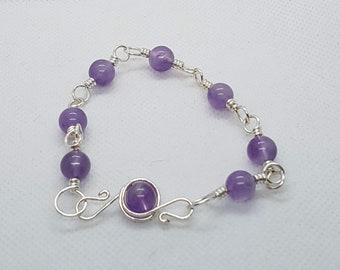 Amethyst Bracelet | Silver Bracelet | Purple Jewellery | Gemstone Arm Candy | February Birthstone Gift Idea