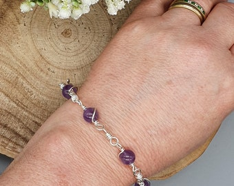 Amethyst Bracelet | Silver Wire Wrapped Jewellery | Purple Beaded Arm Candy | Silver Gemstone Jewellery | Gift Idea for February Babes