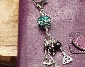 Green and Purple Halloween Bead Dangle Charm,  Chunky Spooky Charm, Bead Dangle Wicca Charm, Planner Charm, Bag Accessory