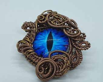 Dragon Eye Pendant, Wire Wrapped Necklace, Blue Jewellery, Dragon Lover's Gift Idea, Spooky Wearable Art