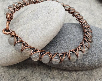 Gemstone Bangle, Grey Silver Quartz Gemstone Bracelet, Wire Wrapped Bangle, Copper Bangle, Handmade Bangle Bracelet, Quartz Jewellery