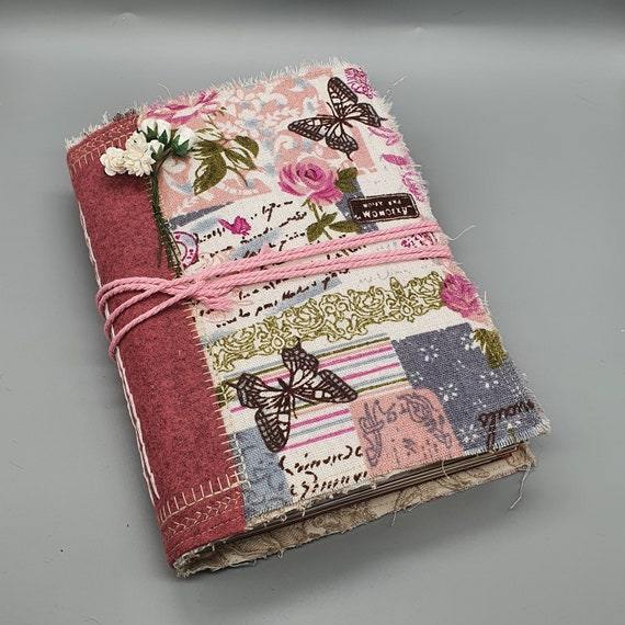Pink Roses & Butterfly, Shabby Chic Junk Journal