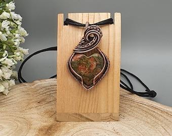 Heart Pendant, Wire Wrapped Jewellery, Unakite Gemstone Pendant, Valentine's Day Gift Idea, Pendant Necklace, Orange & Green Jewellery