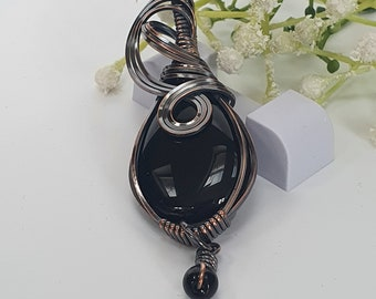 Black Onyx Pendant, Wire Wrapped Necklace, Copper Jewellery, Handmade Onyx Necklace, 7th Anniversary Gift,  Unique Accessories