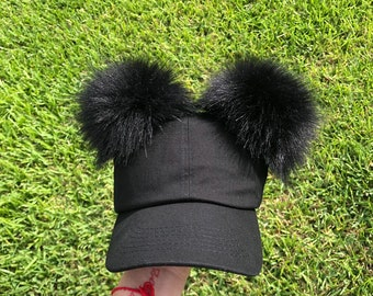 1d5683e7703 Black Fur PomPom Cap Adult