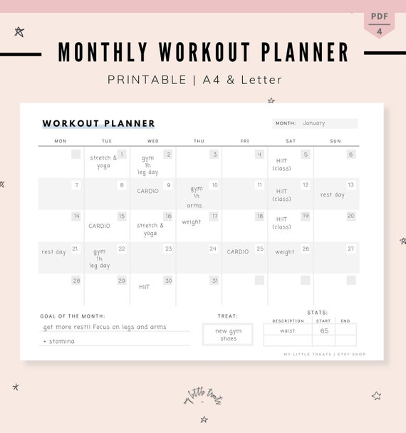 image regarding Printable Workout Calendar known as Month to month Exercise routine Planner, Physical fitness Tracker, Exercise session Calendar, Printable Conditioning Physical fitness Magazine A4 and Letter