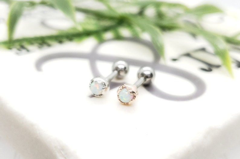 16G*6mm* 3mm White Opals with Silver or Rose Gold Helmet EdgeSurgical Steel Barbell End
