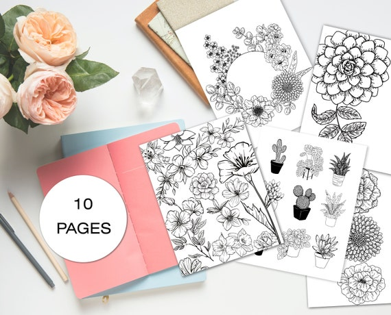 Botanical Adult Coloring Books. Coloring Page PDF. Flower Etsy