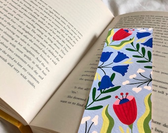 Blue Floral Bookmark 52mm x 148mm - Botanical Book Accessory - Gifts for Book Lovers - Flowers Illustration - Small Gift Ideas