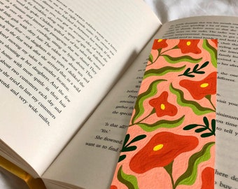 Peach and Orange Floral Bookmark 52mm x 148mm - Botanical Book Accessory - Gifts for Book Lovers - Flowers Illustration - Small Gift Ideas