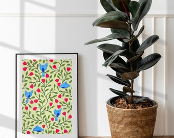 Flowers and Birds Art Print of Original Gouache Painting on Quality Textured Card - A4 & A3 - Contemporary Botanical Illustration - Floral