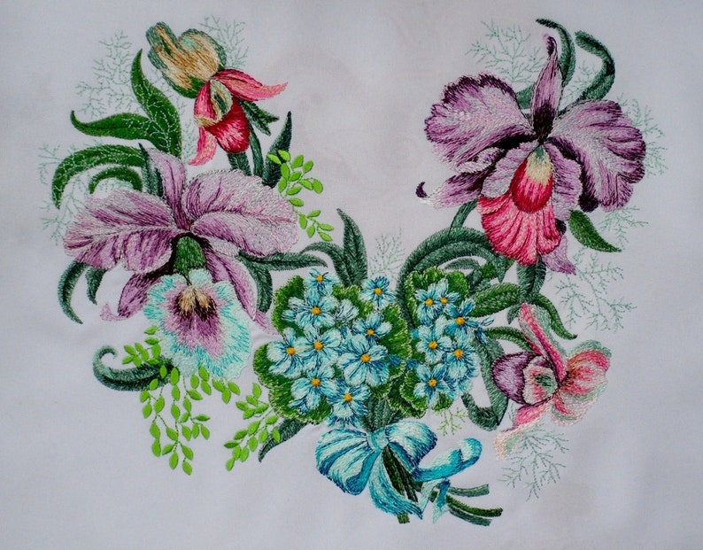 Royal orchids/_the neck Digital Machine Embroidery Design Forget-me-not Flowers Design Lilac Orchids Collar Design