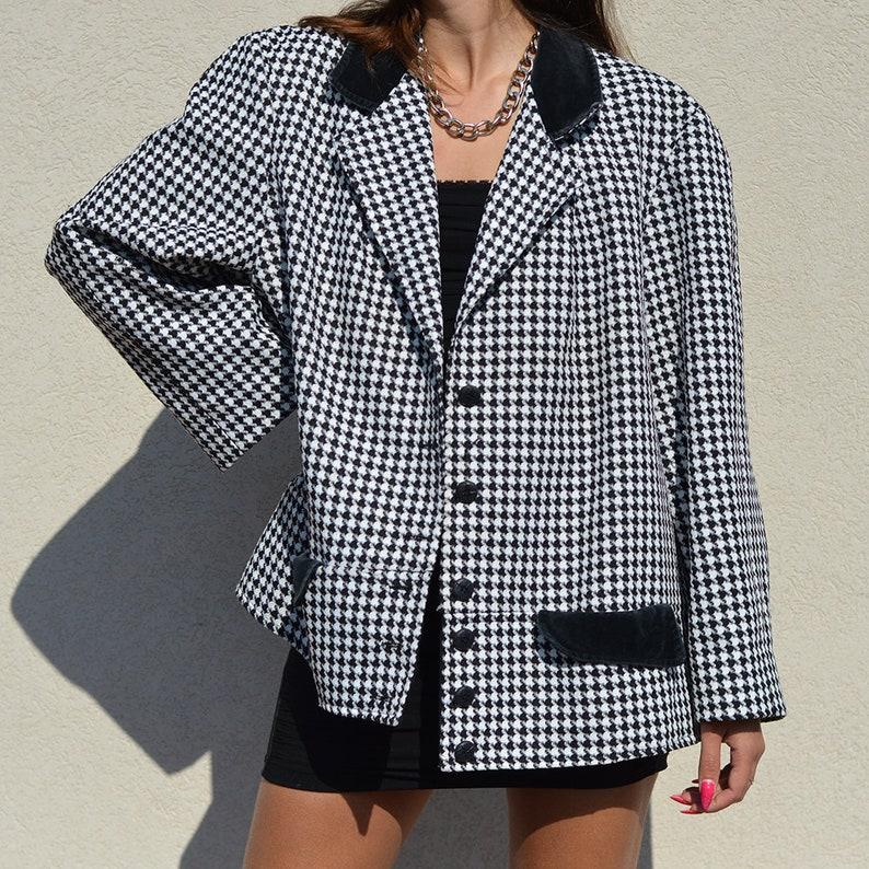 s Shiny Turquoise Coat S-L Vintage 80/'Vintage 80/'s Pepita Pattern Jacket S-M