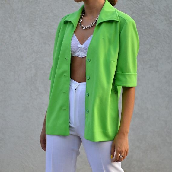 Vintage 80's Neon Green Jacket