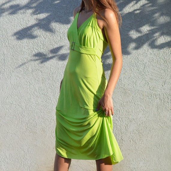 Y2K Vintage Neon Green Midi Dress