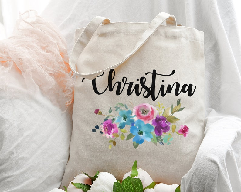 Floral Tote Bag Personalized Tote Bag Custom Tote Bag Bridesmaid Tote Bag Bridesmaid Proposal Teacher Gift Bachelorette Party Favors Bags