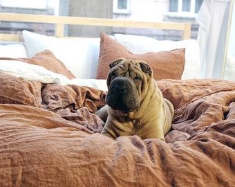 Linen duvet cover, Tobacco bedding, Linen bedding, Pure linen duvet, Duvet cover king, Duvet cover queen, Custom linen bedding available