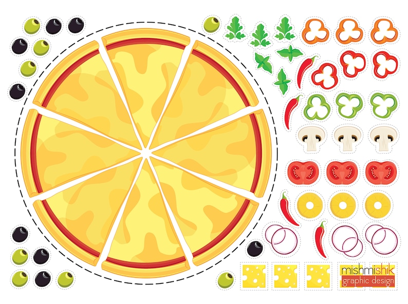 photo about Printable Pizza referred to as printable Do-it-yourself craft pizza for youngsters