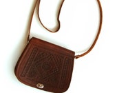 Tooled leather bag, Brown ladies tooled leather purse, handmade moroccan Tooled bag.