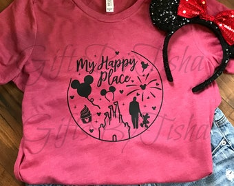 eca13197 My Happy Place Shirt, Walt Disney World, Disneyland, ladies, unisex,  Mickey, Walt Disney, Cinderella Castle, Mickey Ice cream