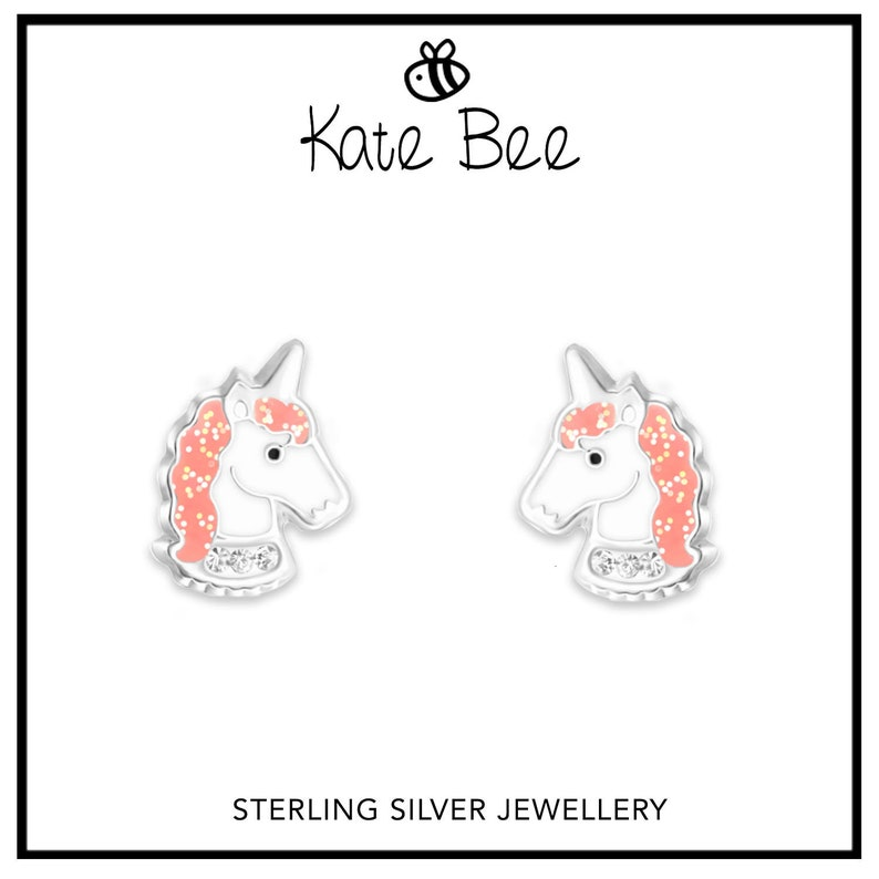 Children/'s Girls kids Jewellery Whalecorn UNICORN stud earrings Sterling Silver