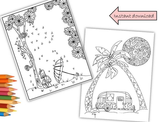 - Vacay And A Rainy Day Coloring Pages Etsy