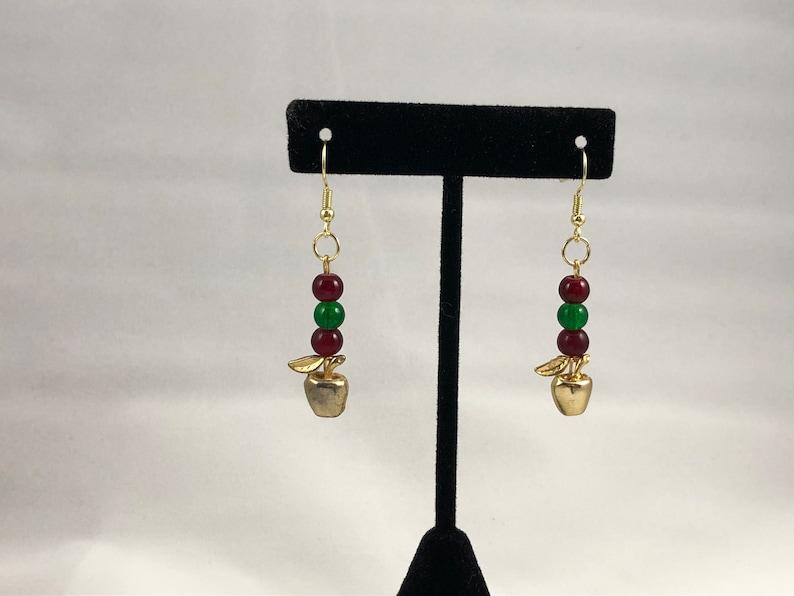 Gifts for Teachers Gold Apple Pendant Earrings Apple Earrings Teacher Earrings Food Earrings Fruit Earrings Golden Apple