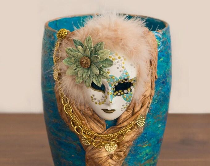 Venetian Mask Altered Vase Turquoise/Gold