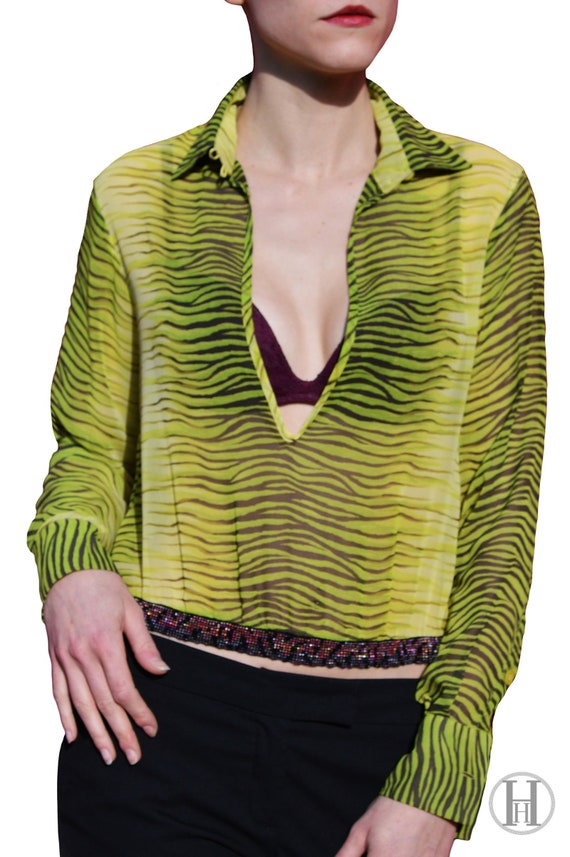 CAVALLI Lime Green Zebra Shirt