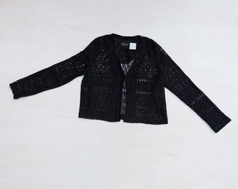 formal knit jacket disco sweater 80s black sparkle cardigan evening cover up red glitter evening cardigan slinky metallic sweater