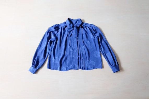 Vintage 80s Bright Blue Floral Blouse