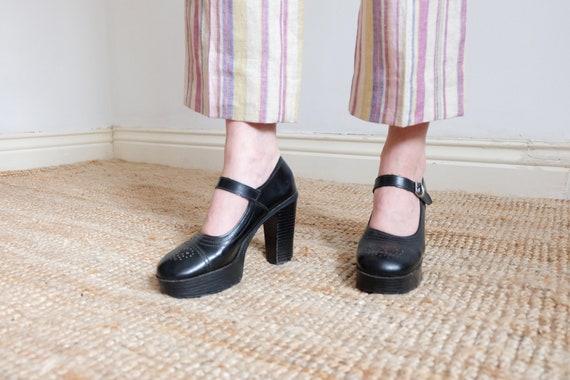 Vintage 70s Black Leather Mary Jane Platform Shoes