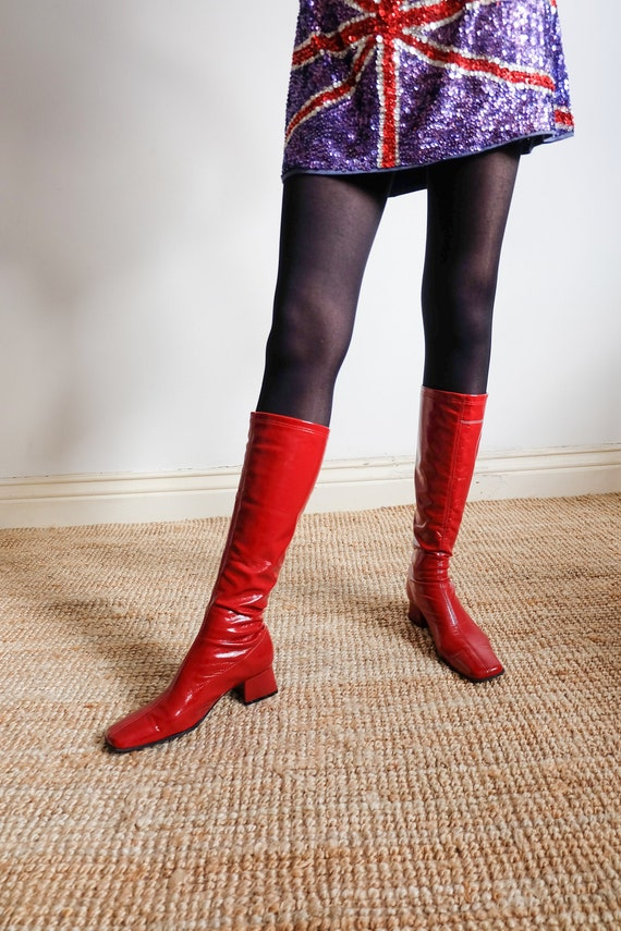 Vintage 90s does 60s Red Go Go Boots (Size UK 6 EU
