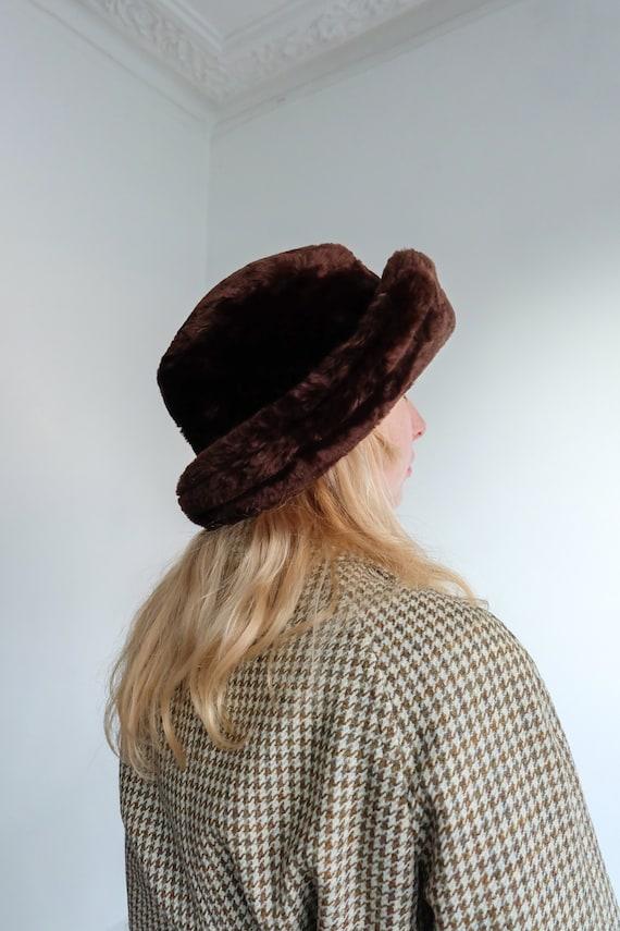 Vintage 90s Brown Faux Fur Bucket Hat