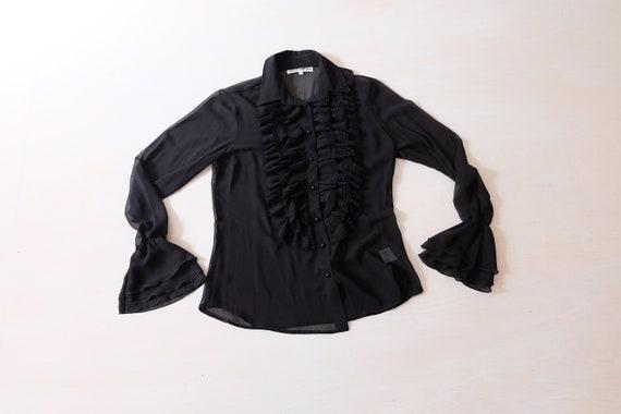 Vintage 70s 80s Black Sheer Chiffon Ruffle Blouse