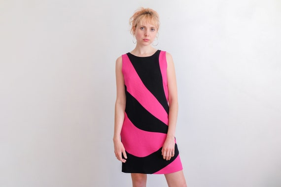 Vintage 00s does 60s 'Moschino' Black and Pink Min