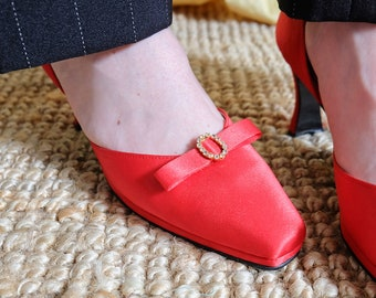 Vintage 70s Red Satin Rhinestone High Heels (Size UK 3 EU 36 US 5)