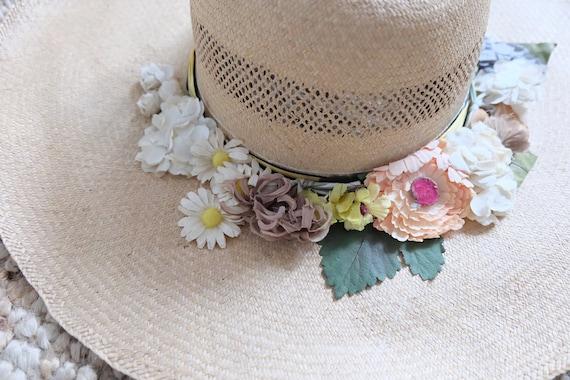 Vintage 60s Floral Wide Brim Summer Straw Hat Sun… - image 6