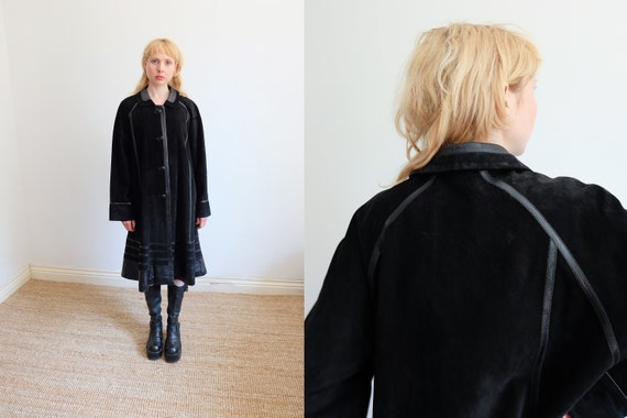 Vintage 70s Black Leather and Suede Long Jacket