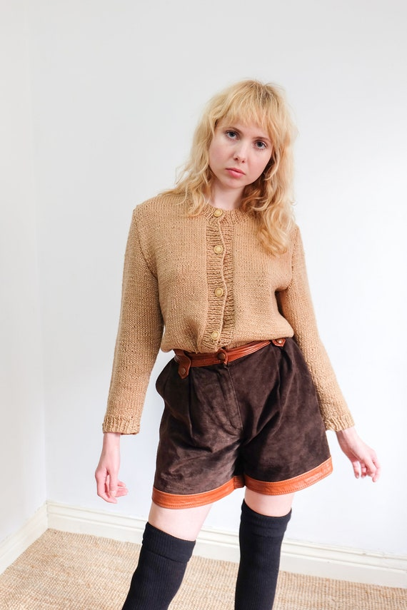 Vintage Brown Orange Suede and Leather Shorts