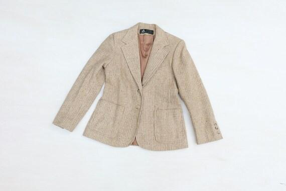 Vintage 60s Beige Tweed Blazer Jacket