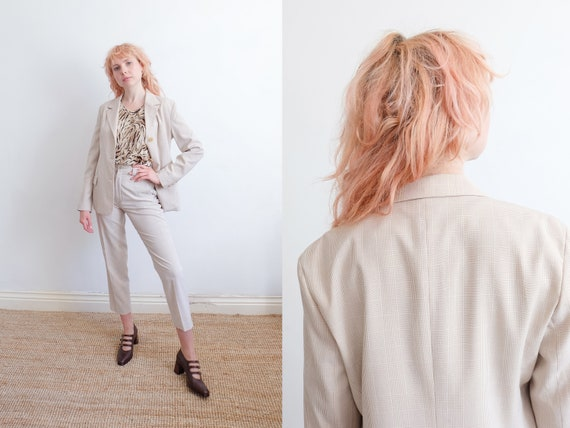 Vintage 90s Beige Checkered Trouser Suit