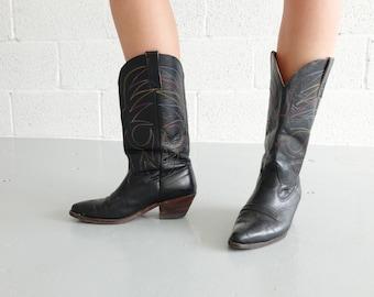 Vintage 90s Black Cowboy Boots (Size UK 6 EU 39 US 8)