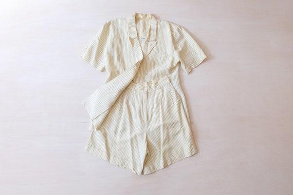 Vintage 80s White Pinstripe Short Trouser Suit