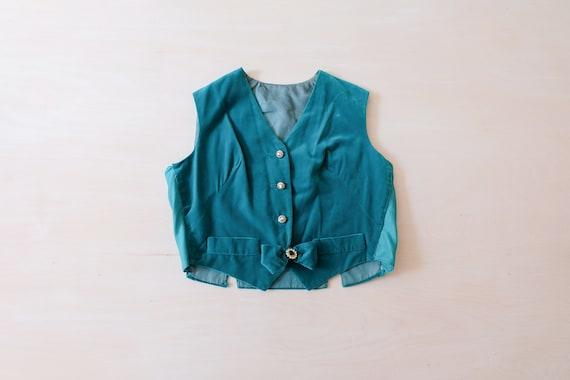 Vintage 60s Turquoise Velvet Waistcoat