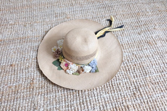 Vintage 60s Floral Wide Brim Summer Straw Hat Sun… - image 4