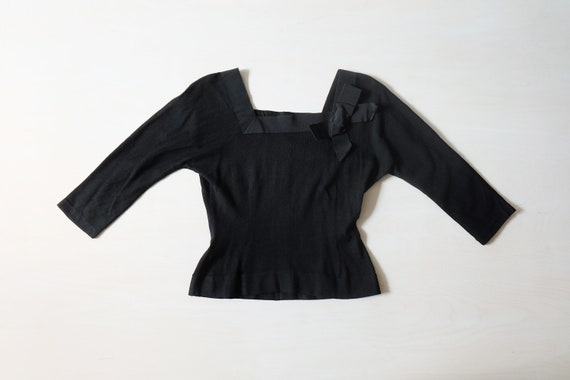 Vintage 50s Black Knitted Top