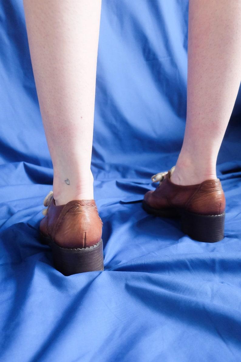 Vintage 70s Brown Leather Groovy Platform Shoes UK 6 EU 39