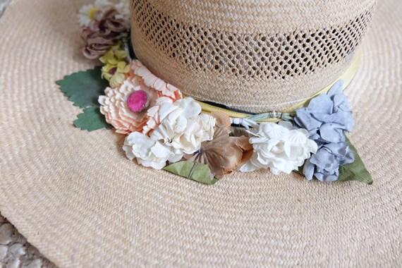 Vintage 60s Floral Wide Brim Summer Straw Hat Sun… - image 5